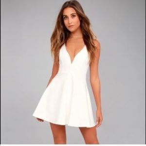 Lulu's Love Galore White Skater Dress